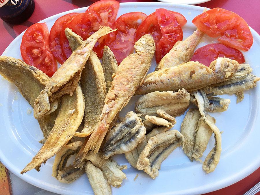 A tapa of pescaito frito (fried fish) in Andalusia