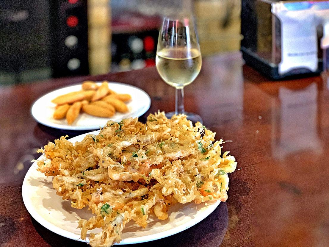 Tortillitas de camarones, delicious shrimp fritters from Western Andalusia, Paladar y Tomar