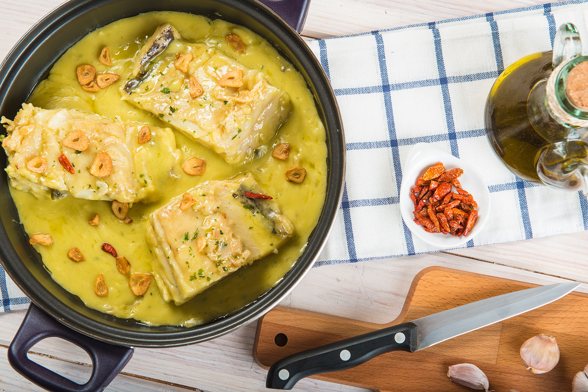 Bacalao al pil-pil, traditional Easter dish in Spain and Basque Country