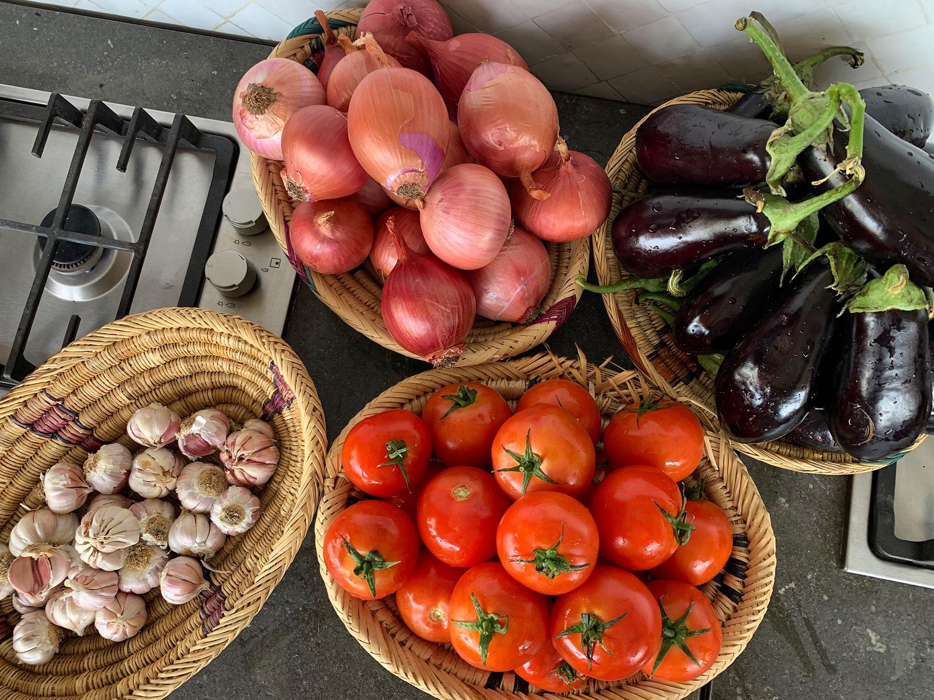 Fresh ingredients to make zaalouk, CÚRATE Trips