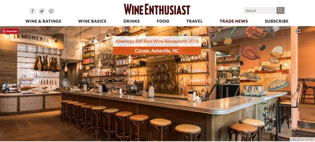 cutate 100 best americas wine restaurants 2018